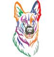 colorful decorative portrait of dog shepherd vector image vector image