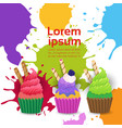 cup cakes set different taste dessert colorful vector image