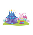 cute circus rabbit jumping fire ring vector image vector image