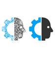 cyborg head mosaic of service tools vector image