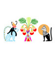 egyptian pattern with two animal god and fruit vector image vector image