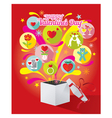 Gift Box with Love Icons and Valentines Text vector image vector image