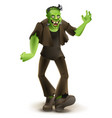 green cartoon monster frankenstein goes to vector image