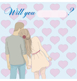 Greeting card Will you marry me with couple vector image vector image