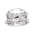 hand drawn hamburger monochrome sketch vector image