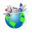 happy cartoon airplane flying around globe vector image