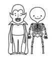 happy halloween celebration boys dracula and vector image