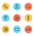hardware icons set with office telephone modem vector image vector image