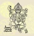 hindu god ganesha hand drawn vector image vector image