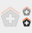 hospital mesh network model and triangle vector image vector image