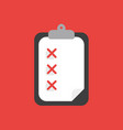 icon concept of clipboard with paper and three x vector image