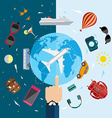 Icons of traveling planning vacation tourism and vector image
