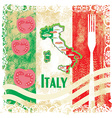 Italy travel grunge card with national italian vector image