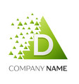 letter d logo symbol in colorful triangle vector image vector image