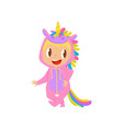 lovely baby girl in pink unicorn costume vector image vector image