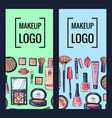 Makeup brand banners or flyers with hand vector image