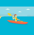 man paddling kayak male tourist spending active vector image vector image