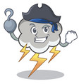 pirate thunder cloud character cartoon vector image
