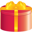 Red round gift box vector image vector image
