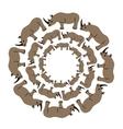 rhinos in circle vector image vector image