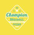 rhombus emblem champions baseball team vector image vector image