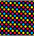 seamless colorful polka dot pattern on black vector image vector image
