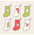 Set of hand drawn christmas sock stickers with vector image vector image