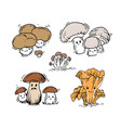 Set of mushrooms vector image