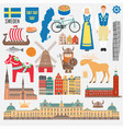 set with design elements symbols sweden vector image vector image