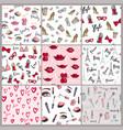 stylish vintage motive fashion seamless pattern vector image