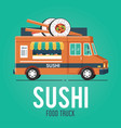 sushi food truck vector image vector image