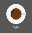 Top view of a white cup of hot brown coffe vector image vector image