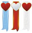 vintage hearts ribbon vector image vector image