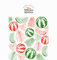 watermelon and tropical leaves design template vector image