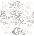 White seamless pattern with peonies and pansies vector image vector image