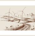 windmills on hills landscape vector image vector image