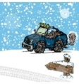 Winter SUV sketch vector image vector image