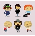 funny office characters smiling vector image