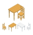 Isometric wooden furniture vector image