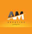 am a m letter modern logo design with yellow