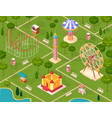 amusement park isometric seamless pattern vector image vector image