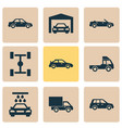 automobile icons set collection of convertible vector image vector image