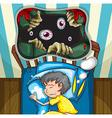 Boy in bed having nightmare vector image