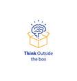 brain and open box creativity improvement vector image vector image
