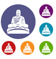 buddha statue icons set vector image vector image