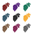 bunch of grapes icon in black style isolated on vector image vector image
