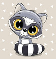 cartoon raccoon on a beige background vector image