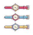 classic casual hand watch flat vector image vector image