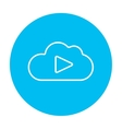 Cloud with play button line icon vector image