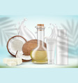 coconut cosmetics oil cream tubes and palm vector image